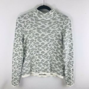 LOFT  Small Gray Animal Print Sweater